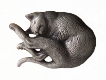 Cat Sleeping Pewter Brooch